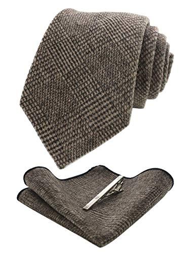 JEMYGINS Kaschmir Wolle Braun Krawatte und Einstecktuch Krawattenklammer Sets Krawatten für Herren(2)