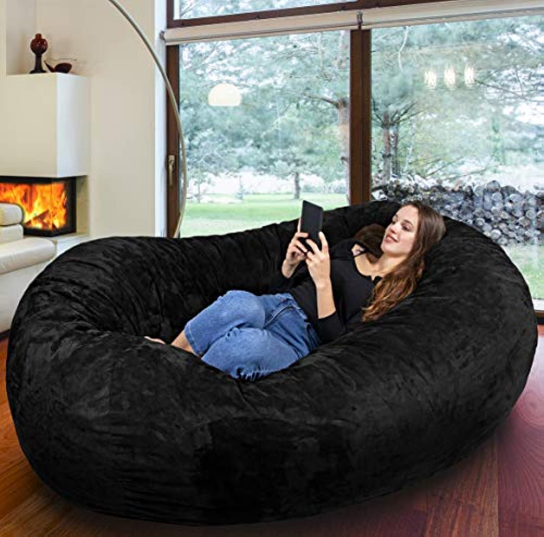Der grte Sitzsack Europas - Riesiger Giga Sitzsack in Schwarz mit 1500l Memory Schaumstoff Füllung und Waschbarem Bezug - Gemütliches Sofa, Riesen Bett, Bean Bag für Kinder und Erwachsene