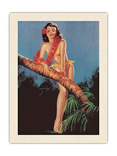 Pacifica Island Art I Hope The Boys Don't Draw Cannucce Tonight – Tropical Bikini-Clad Girl – Vintage Pin Up Calendar Pagina di Billy DeVorss c.1946 – Tessuto di tela organica RAW 45,7 x 61 cm