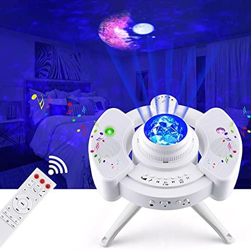 Proyector LED de cielo estrellado, luz nocturna infantil, lámpara de proyección con mando a distancia, temporizador y reproductor de música con Bluetooth estéreo, para fiestas de nacimiento