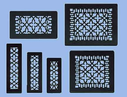 """Antique Recreated Cast Iron Victorian Style Floor. Ceiling, Or Wall Grate For Return Air Intake Or Heat Vents. Floor Register Cover. 6"""" x 12"""" (Overall size 8"""" x 14"""") Cast Iron Grill without Damper (ZM-IR-612)"""