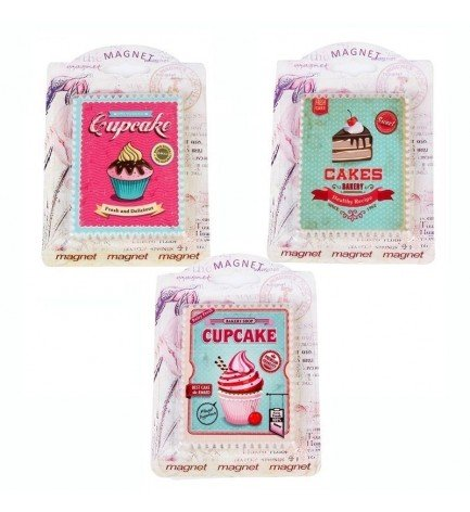 DISOK - Lote 3 Imanes Retro Cupcake - Imanes Nevera para Detalles, Recuerdos y Regalos de Bodas Baratos