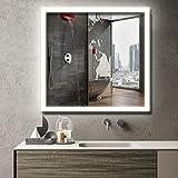 MAVISEVER 36x36 Inch LED Lighted Bathroom Wall Mounted Mirror, CRI 95+ & 6500K Light, Anti Fog, ETL Certification & IP 44 Waterproof, Smart Touch Button, Wall Mounted Vertical & Horizontal, Halo