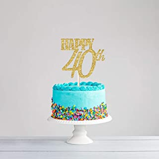CC HOME 40th Birthday Supplies Party Decorations/40 Birthday Cake Toppers Decorations ,Gold Glitter Happy 40th Cake Topper Cake Decorations ,Party Favor ,Anniversary Gift Ideas for Mom, Dad, Husband, Wife - 40 Years Gifts, Party Favors, Decorations for Him or Her