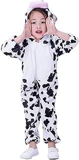 Amosfun Traje de Pijama de Animal de Onesie de Vaca para niños Cosplay Mono de Vaca para los niños pequeños Fiesta de Disfraces (Talla XL)