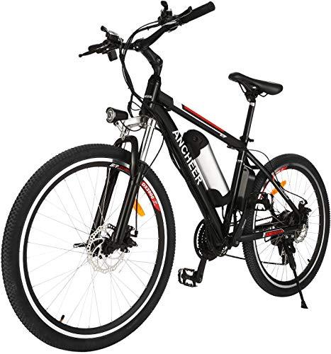 ANCHEER Electric Mountain Bike, 250W 26'' Electric Bicycle with Removable 36V 8Ah /12.5Ah Lithium-Ion Battery for Adults, 21 Speed Shifter (Classic)