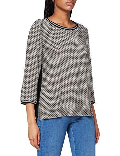 TOM TAILOR Damen ¾-Arm Muster Bündchen T-Shirt, 25183-grey small bias chec, L