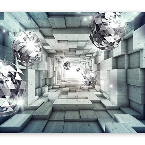 murando Fototapete 3D Effekt 350x256 cm Vlies Tapeten Wandtapete XXL Moderne Wanddeko Design Wand Dekoration Wohnzimmer Schlafzimmer Büro Flur Holz Tunnel Kugel a-A-0155-a-d