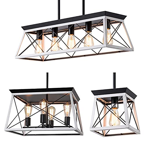 XIPUDA Farmhouse Pendant Light Fixture Bundle Kitchen Island Lighting Set Modern Chandeliers Linear Ceiling Light Kit for Bedroom Dinning Room Kitchen