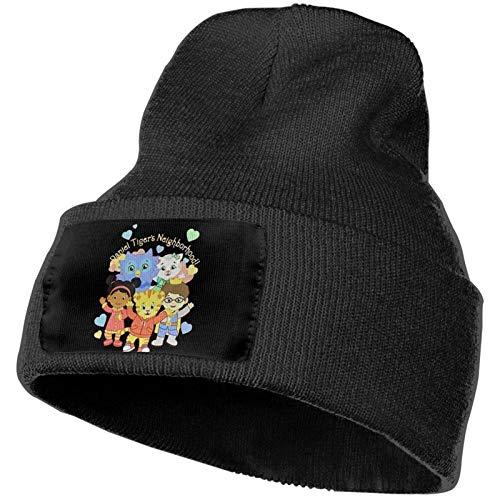 Daniel Tiger Knit Cuffed Beanie Cap Skull Caps Stretchy Sport Black