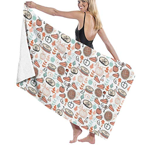 Unisex New Baking Food Pies Bath Towel Soft Absorbent Quick Dry Towels For Sports Travel Pool Bath,130cm×80cm