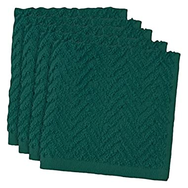 DII Cotton Zig Zag Weave Dish Clothes, 12 x 12 Set of 6, Heavy Duty Kitchen Bar Mop for Drying & Cleaning-Teal