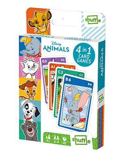 Juego de Cartas Shuffle Fun Disney Animals 4 en 1 - Baraja de Cartas con 4 Juegos de Snap, Familias, Parejas y Juego de Acción, Multicolor