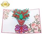 ローズの花束のグリーティングカード メッセージカード 誕生日カード 感謝状 結婚祝い バラ 封筒付き