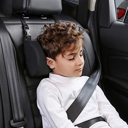 ABE Car Pillow for Kids, Kids Travel Neck Pillow for Car,Car Seat Headrest Pillow,Head Neck Support for Car Seat,Adjustable Travel Sleeping Car Pillow (Black)