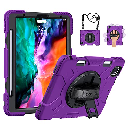 GROLEOA iPad Pro 12.9 Case 4th Generation 2020/2018 with Pencil Holder: Military Grade Shockproof Silicone Protective Cover + Stand + Handle Shoulder Strap for iPad Pro 12.9 Inch 3rd Gen Purple