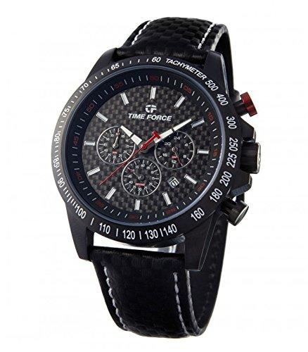TIME FORCE Reloj Cronógrafo para Hombre de Cuarzo con Correa en Cuero TFA5013MN02