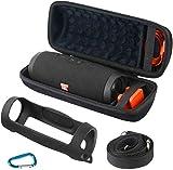 Khanka Hart Tasche+Silikonhülle+Karabinerhaken für JBL Charge 4 Wasserdichter Bluetooth Lautsprecher & Zubehör.(Mit Schultergurt)
