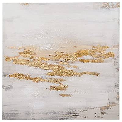 Rivet Abstract Gold and White Flecks Painting on Canvas Wall Art Decor from Rivet