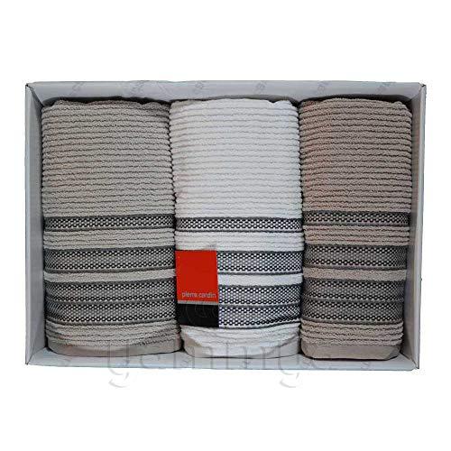 Pierre Cardin Juego de toallas de baño de 3 caras con 3 invitados (beige/blanco/pardo)