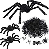 Tatuo Black 30 Inch Large Spider and 2 Pieces 12 Inch Plush Spider with 20 Pieces 3.1 Inch and 300 Pieces 1.8 Inch Halloween Spiders Scary Decoration for Halloween Party Houses Decorations