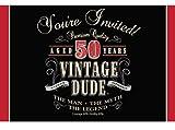 Creative Converting Party Supplies Vintage Dude 50th Birthday Gatefold Invitation, 4' x 6', Multicolor