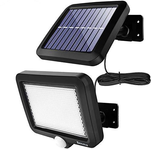 Benma - Lampade solari da esterni, luci solari da giardino con sensore di movimento, angolo di illuminazione 120°, 5 m, impermeabile, lampada da parete per giardino(cavo 16,5 ft)