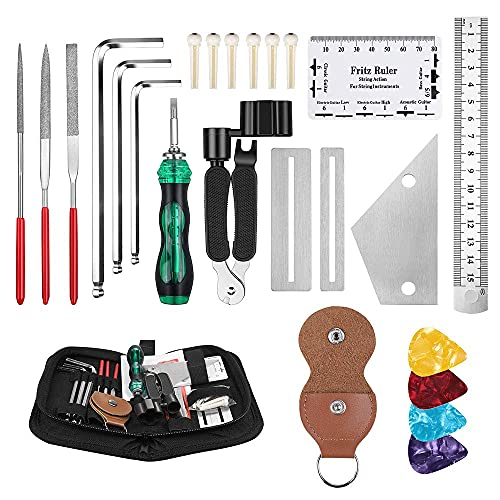Anpro 26 Stück Guitar Reparaturswerkzeug Set Repairing Tool Kit Reinigungswerkzeug Kit Mit Tragetasche für Gitarren-Ukulele Bass Mandoline Banjo