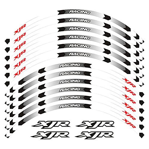 Motorrad Felgenstreifen Abziehbilder 17 Zoll Radaufkleber Reflexband für Yamaha XJR 400 1200 1300 Reflektierende Aufkleber (Color : A White)