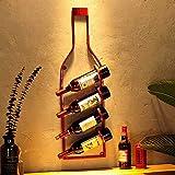 Botellas de Vino Tradicionales Botellero de Vino Botellas Decoraciones de Pared, Tapices Industriales Retro, Botellas de Vino, Decoraciones de Hierro Forjado, Colgantes de Barra Regalo Perfecto, Yue