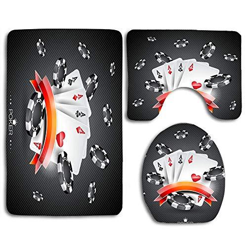 Thème de casino avec symbole de poker Cartes à jouer 3 pièces Flanelle Housse de siège de toilette antidérapante + Coussin de pied + Tapis de bain Ensemble de salle de bain Décor de toilette