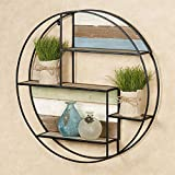Touch of Class Delray Circle Wall Shelf Black One Size - Geometric Craftsmanship, Circular Design, Round Floating Openwork Display - Wooden Plank Accents, Metal Framework, 32 Inch Diameter, 6 Deep