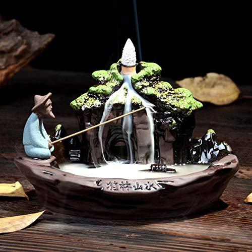 Jeteven Keramik Räucherstäbchenhalter Rückfluss Räuchergefäß Luftbefeuchter für Freies Kegel ''Fischer Angeln'' Aromatherapie Räucherstäbchen Rückfluss Weihrauch (19x11.5x12cm)