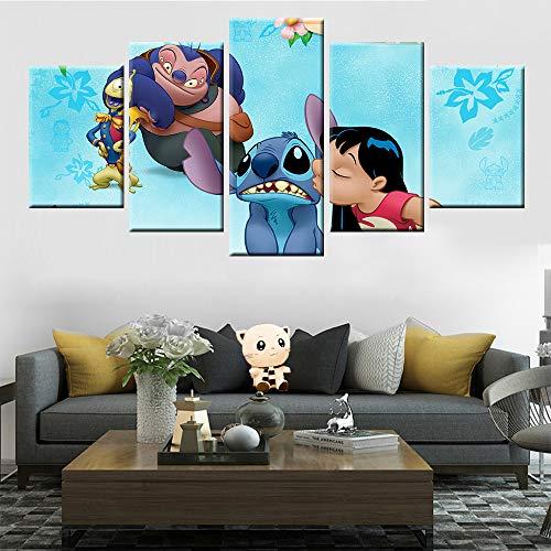 Moderne Wohnkultur Kinderzimmer Wandkunst 5 Panel HD-Druck Anime Lilo & Stitch Charakter Poster Leinwand Malerei(size 1)