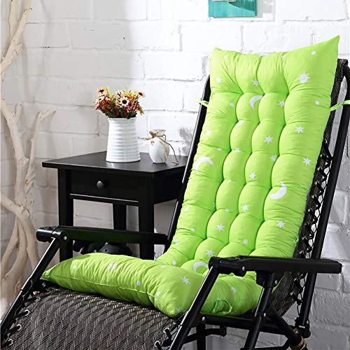 XFXDBT Hochlehner Sitzkissen Verdicken Rocking Chair Pad Nicht-Slip Sonnenliege Kissen Mit Bindungen Für Gartenmöbel Indoor Outdoor-Grasgrün 125x48cm(49x19inch)