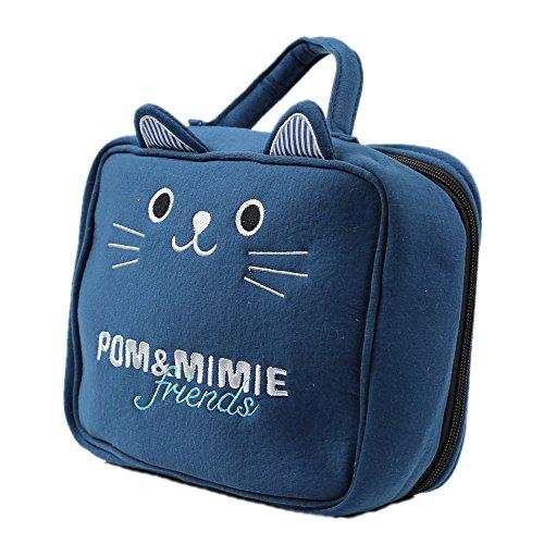POM&MIMIE 消臭機能付きおむつポーチ・トラベルポーチ CATネイビー