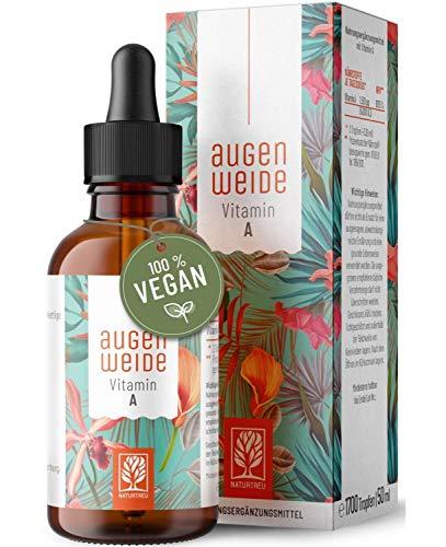 Vitamin A Tropfen hochdosiert - Einführungspreis - 5000 I.E (1500 µg) je Tagesdosis - Vegan - Vitamin A flüssig, Hergestellt in Deutschland - Retinol Naturtreu Augenweide 1700 Tropfen 50 ml