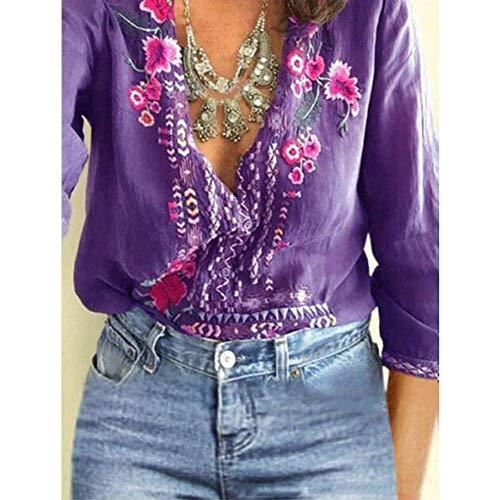 Asseny Damen T-Shirt Bestickt Blumen T-Shirt Tiefer V-Ausschnitt Langarm Hemden Top Bluse - Lila, X-Large