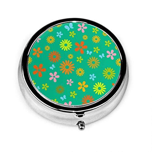 Organizer für den Sommer, bunte Blumen, runde Box, kompakt, 2 Fächer, Vitamine, Tablet-Halter, Behälter, Metall, tragbar für den täglichen Bedarf, Reisebeutel