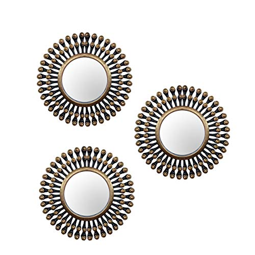 Painting Mantra -Set of 3 Decorative Round Back Gold Wall Mirror for Living Room (10 x 10 Inchs)