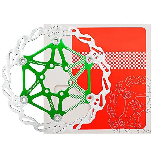 SHHMA Disco de Freno de Disco de Bicicleta 160mm Disco Flotante de Bicicleta de montaña Disco de Freno MTB Equipo de Montar en Disco de Seis Clavos,Verde