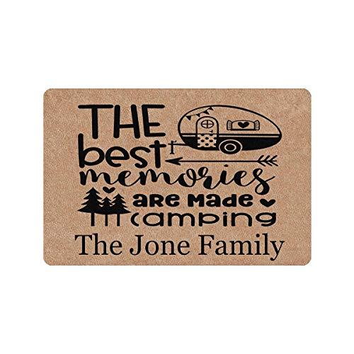 Custom Mat, Personalized Text Printed Doormat The Best Memories Are Made Camping Camper Door Mat Rug Welcome Indoor Outdoor Decor Entrance Mat Non Slip Floor Mat Rug for Living Room 24x16 Inches