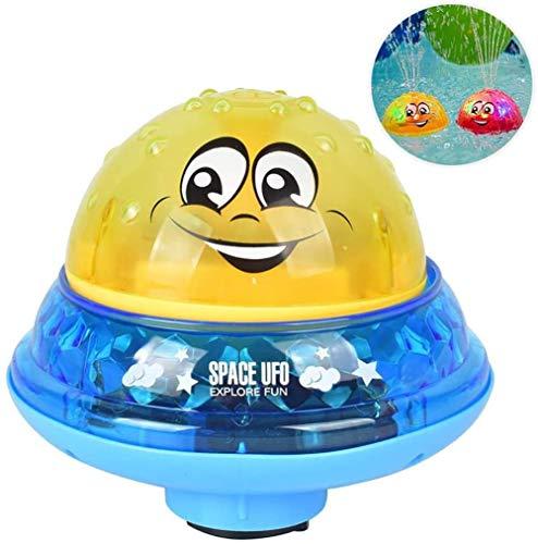 YMhome Sprinkler Bällebad Spielzeug, 2 in 1 Induktions-Wasser-Spray-Spielzeug mit LED-Licht Musical Automatische Badewanne Spielzeug für Kleinkinder,Gelb