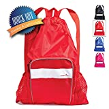 Athletico Mesh Swim Bag - Mesh Pool Bag With Wet & Dry Compartments for Swimming, the Beach, Camping and More (Red)
