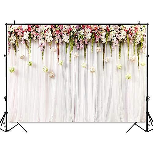 Fondo de Boda Blanco Fotografía Flores Pared Rosa Fondo Boda Ducha Retrato Telones de Fondo Escena romántica Foto A12 10x7ft / 3x2.2m