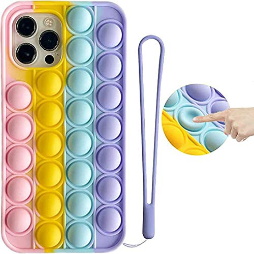 YUUER Fidget Toy Phone Case for Samsung Galaxy S20 Ultra - Push Pop Bubble Sensory Toys Relief Stress Case, 3D Soft Silicone Full Body Protective Shockproof Cover for Women Men Kids Teens (Rainbow)