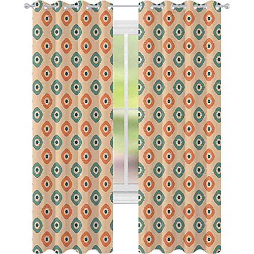 90 % – 99 % cortina opaca, cuadrados redondeados en forma vertical con azulejos clásicos nostálgicos, cortinas de 52 x 63 con ojales para habitación de niñas, color naranja, verde azulado y melocotón