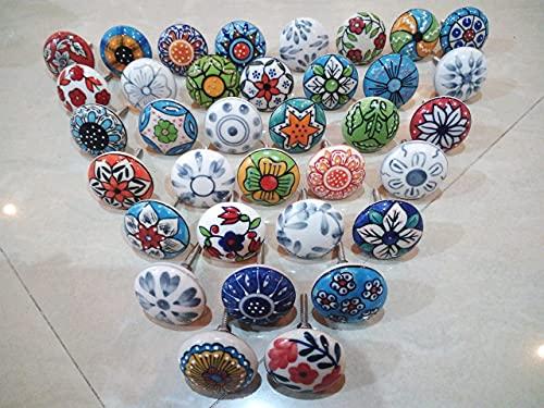 Confezione da 20 pomelli, in stile vintage, motivo floreale assortito, in ceramica, per maniglie porte, armadi, cassetti e credenze