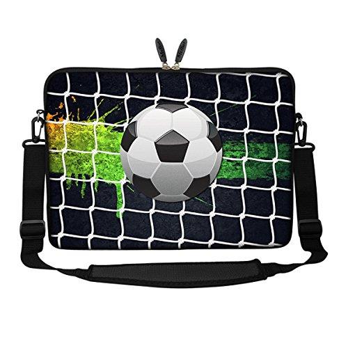 Meffort Inc 15 15.6 inch Neoprene Laptop Sleeve Bag Carrying Case with Hidden Handle and Adjustable Shoulder Strap - Soccer