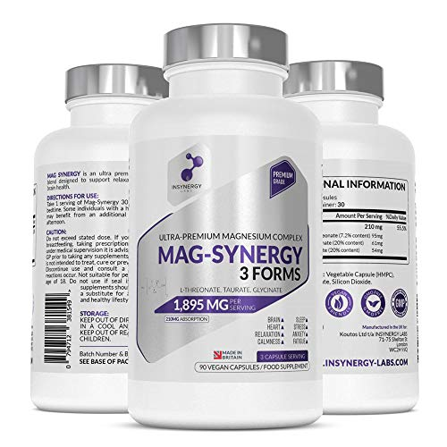 Ultra Premium Magnesium Supplement 1,895mg tablets | Highest Strength Anxiety Relief Magnesium Supplements UK | Magnesium Glycinate Citrate Threonate Complex 3 Forms